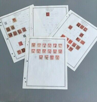 US STAMPS Great Lot  Postage Due Stamps on Scotts Album Pages USED  1879-1985