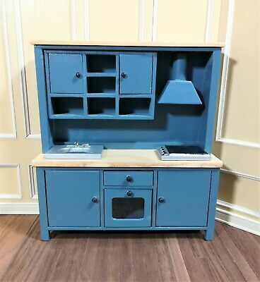 Dollhouse Miniature Kitchen All in One Oven Stove Sink Cupboards 1:12 Blue