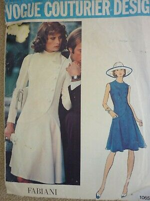 Vintage 1960'S Vogue Couturier Fabiani Semi Fitted Dress Sewing Pattern