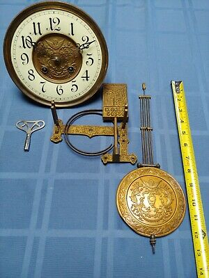 Antique DGMS Wall Clock Parts, As Found, For Parts, Brass porcelain face Germany