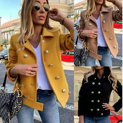 Women's Jacket short Cloth Double-Breasted Coat Buttons Golden Toocool JL-82132