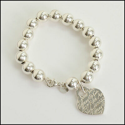 RDC10413 Authentic Tiffany & Co. Large Beaded Sterling N.Y. Notes Heart Bracelet
