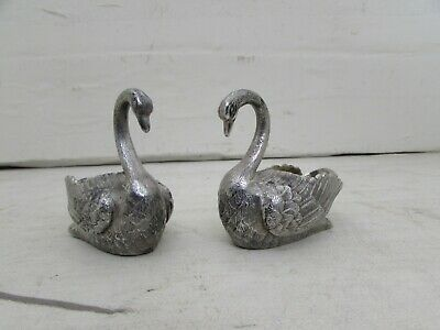 Pair of Vintage Silver Plated Swan Condiments