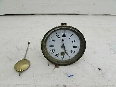 Antique Unusual Design Mantel Clock Movement With Glass, Face & Hands, 4""