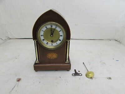 Edwardian Inlaid Lancet Top & Brass Columned Mantel Clock, HAC Fully Running Mov