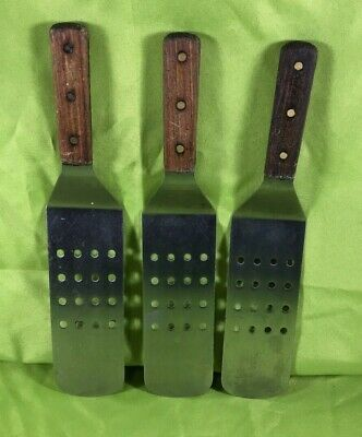Intedge Stainless Steel Commercial Slotted Spatula w/ Wooden Handle Lot of 3