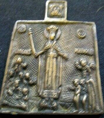 Antique Russian Orthodox Holy Mother Of God Brass Icon 19Th Century