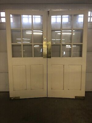 Vintage Architectural Salvage Store Front Pub Swinging French Solid Wood Doors