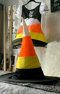 Halloween Candy Corn Witch Costume With Hat -  Girls Small  *FREE SHIPPING*