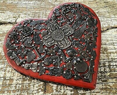 Red MILAGROS HEART Ex Voto Sacred CORAZON Mexican Folk Art Thick Carved Wood