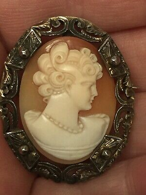 Antique Early Victorian Ornate Gold Tone Carved Shell Cameo Brooch Pin Pendant