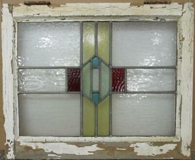 "MIDSIZE OLD ENGLISH LEADED STAINED GLASS WINDOW Awesome Geometric 23"" x 18.75"""