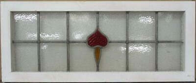 "OLD ENGLISH LEADED STAINED GLASS WINDOW TRANSOM Pretty Abstract 34"" x 14.25"""