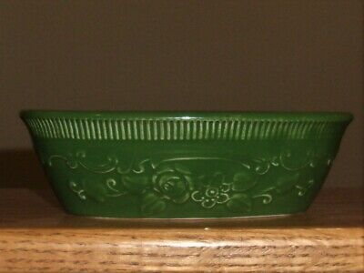 Homer Laughlin FOREST GREEN Floral OVAL Oven Serve Wear MINI CASSEROLE Dish 6x4