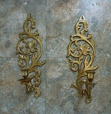 """Vintage Pair Solid Brass Wall Sconces Candlestick Candle Holders Home Decor 15"""""""