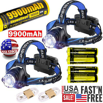 150000Lumens T6 LED Zoom Headlamp USB Rechargeable 18650 Headlight Head Torch US