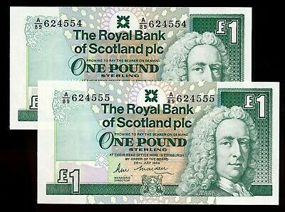 1989 The Royal Bank of Scotland 1 Pound Consecutive Notes UNC Fancy #554 & 555