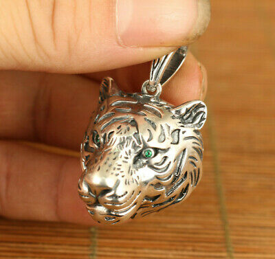 rare cool chinese 925 silver hand carved tiger head statue pendant netsuke gift