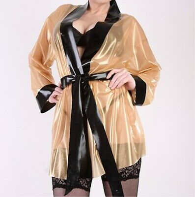 Latex 100% Rubber Transparent Pyjamas Sexy Long Coat Gummi Ganzanzug Neu S-XXL