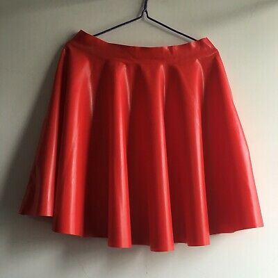 Hot Sale Red Short skirt Pleated skirt Over the knee100%Latex Gummi Feste Größe
