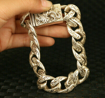rare chinese Tibet silver hand carved dragon head statue bracelet decorate gift