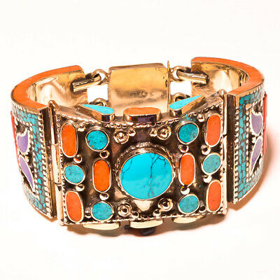 Turquoise With Lapis Lazuli & Red Coral Adorable Nepali Jewelry Tibetan Cuff