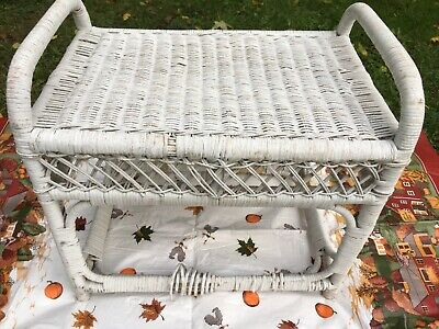 USED Vintage Antique Retro White wicker small bench with under storage rare