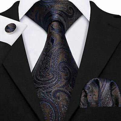 Classic Mens Black Brown Silk Tie Set Paisley Necktie Jacquard Woven Formal