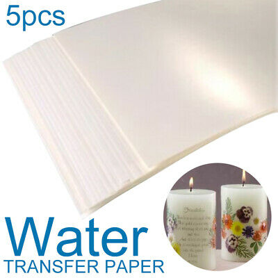 5Pcs Clear/White A4 Waterslid Transfer Decal Paper Inkjet Printer Soap Glass