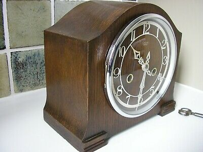 RESTORED 1950's STRIKING MANTLE CLOCK L.H.M.C.see notes