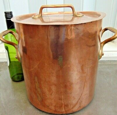 Antique Dehillerin French Dovetailed Hammered Copper Stockpot Faitout Marmite