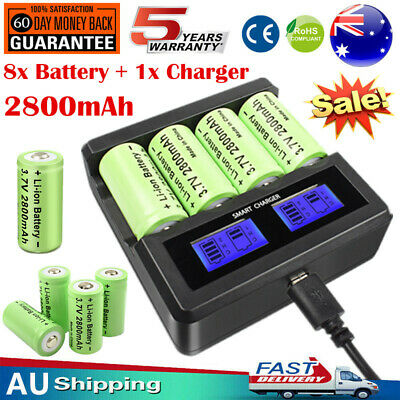 8x 2800mAh 16340 CR123A Rechargeable Battery + Charger for Arlo Security Camera