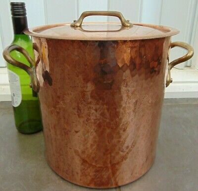 Vintage Mauviel French Hammered Copper Stockpot Faitout Marmite