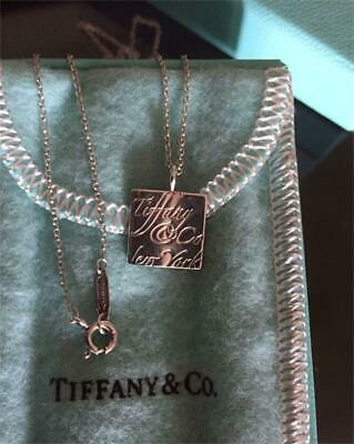 Tiffany & Co. Notes Square Pendant New York 925 Sterling Silver Necklace w/Box
