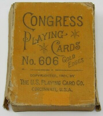 Antique CONGRESS No 606 SITTING BULL Gold Edge Playing Cards Poker Deck 1901