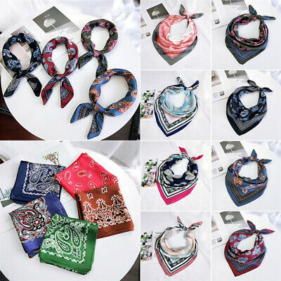 Printing Small Vintage Hair Tie Band Square Scarf Head Neck Silk Feel Satin