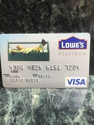 VINTAGE COLLECTIBLE LOWE'S PLATINUM VISA CARD, raided numbers (f)