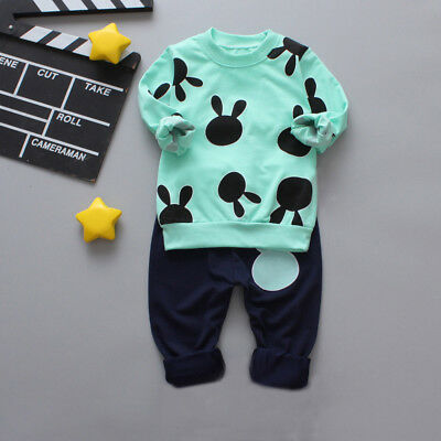 2PCS Baby Kids Girls Boy Clothes Outfits Cotton T-shirt Tops Tracksuit+Pants A1