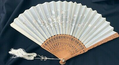 Antique Chinese Embroidered Fan Qing Dynasty Circa 1900 & Original Lacquer Box