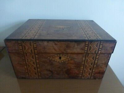 Antique Tunbridge Ware Box /Slope For Restoration