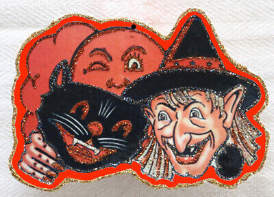 Glittered Wooden Halloween Ornament ~ Cat, Witch & Moon ~ Vintage Card Image~