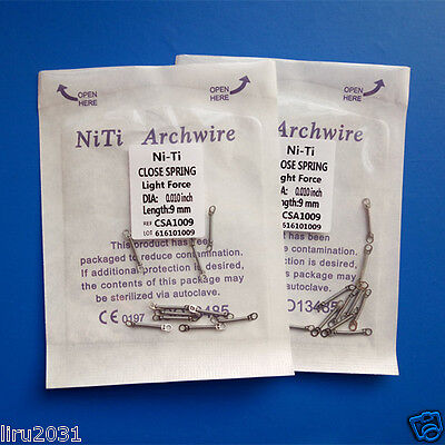 30 Packs Dental Close Coil Spring Orthodonti​c NiTi Alloy 0.010 9m​m Light Force