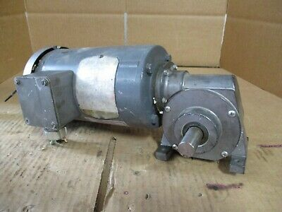 Baldor Electric Motor With Double Shaft Gear Reducer # 10101235B Used