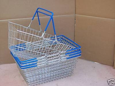 4  x  2 Handle Blue Wire Shopping Basket Retail Supermarket Use Hand Carry Mesh