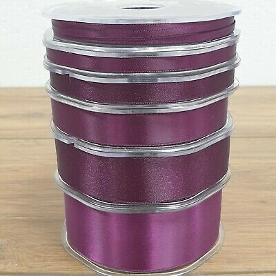 Beautiful Quality Double Sided Satin Ribbon Aubergine 3mm-38mm Wide Plain Per 1M
