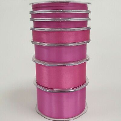 Beautiful Quality Double Sided Satin Ribbon Cerise 3mm-50mm Wide Plain Per 1M