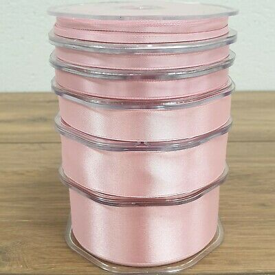 Quality Double Sided Satin Ribbon Classic Pink 3mm-38mm Wide Plain Cut Per 1M