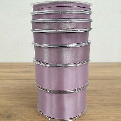 Beautiful Double Sided Satin Ribbon Damson Purple 3mm-50mm Wide Plain Per 1M