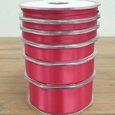 Quality Double Sided Satin Ribbon Deep Cerise 3mm-38mm Wide Plain Cut Per 1M