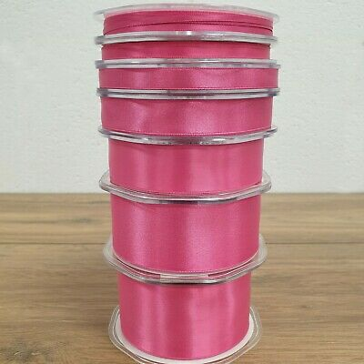 Beautiful Double Sided Satin Ribbon Fuchsia Pink 3mm-50mm Wide Plain Per 1M